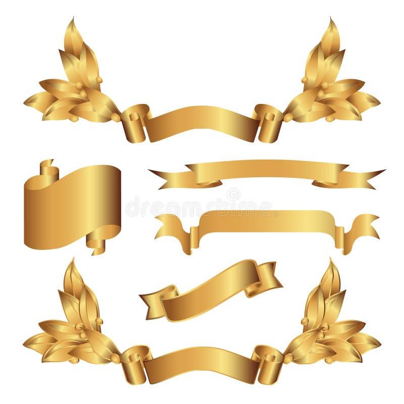 Bandiere dell'oro illustrazione di stock