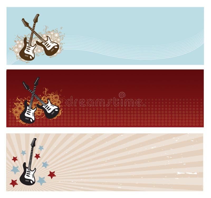 Bandiere della chitarra immagine stock
