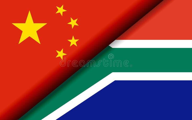 Bandiere della Cina e del Sudafrica divisi diagonalmente illustrazione vettoriale