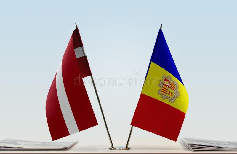 Bandiere della Lettonia e dell'Andorra immagini stock libere da diritti