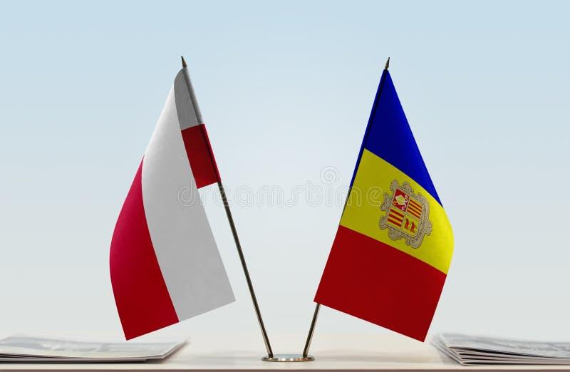 Bandiere della Polonia e dell'Andorra fotografia stock