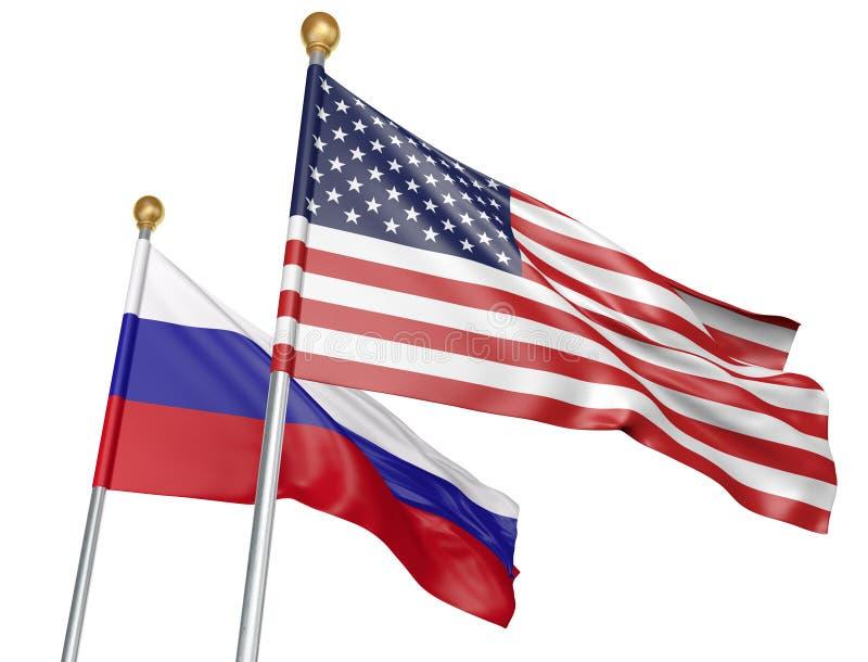 Bandiere della Russia e degli Stati Uniti che volano insieme per i colloqui diplomatici importanti, rappresentazione 3D illustrazione di stock