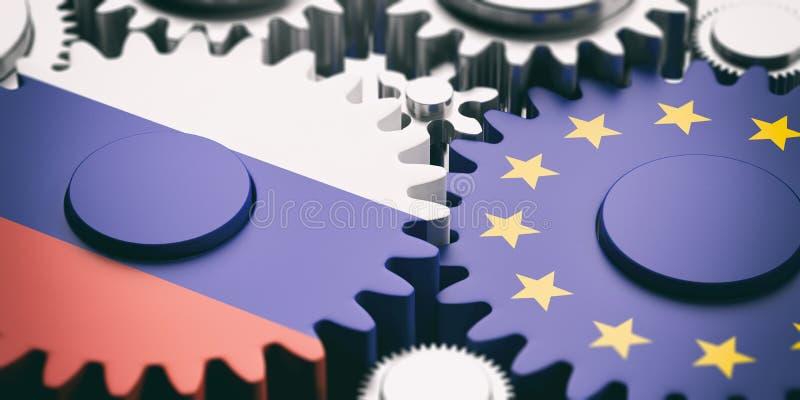 Bandiere della Russia e dell'Unione Europea sulle ruote dentate del metallo illustrazione 3D illustrazione di stock
