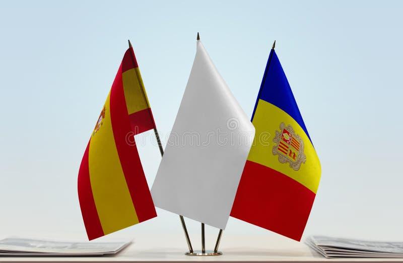 Bandiere della Spagna e dell'Andorra fotografia stock