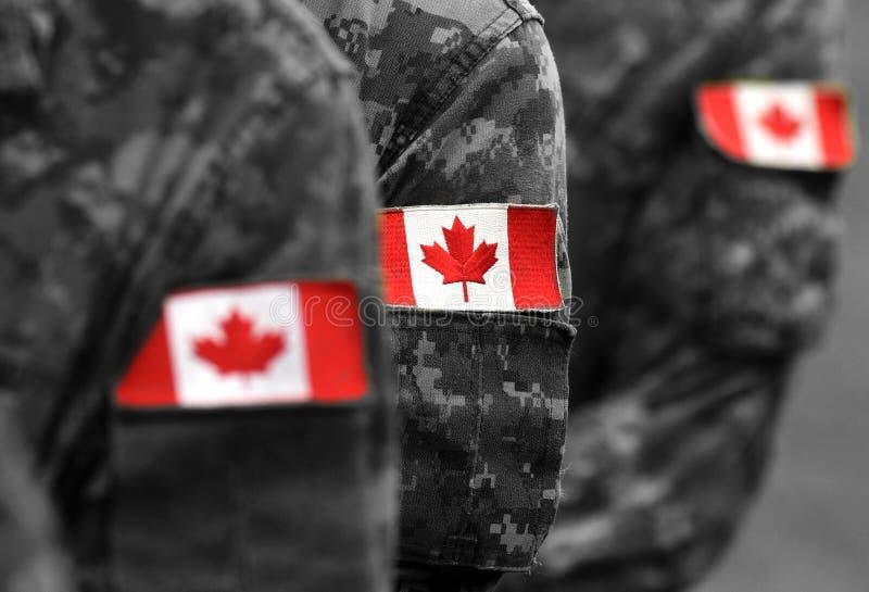 Bandiere della toppa del Canada sul braccio dei soldati Truppe canadesi immagini stock libere da diritti