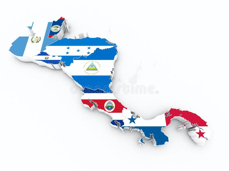 Bandiere dello stato dell'America Centrale sulla mappa 3d illustrazione di stock
