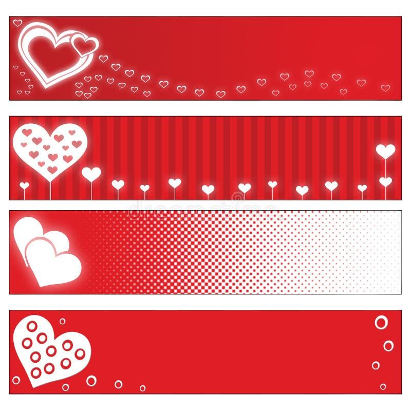 Bandiere di giorno dei biglietti di S. Valentino illustrazione di stock