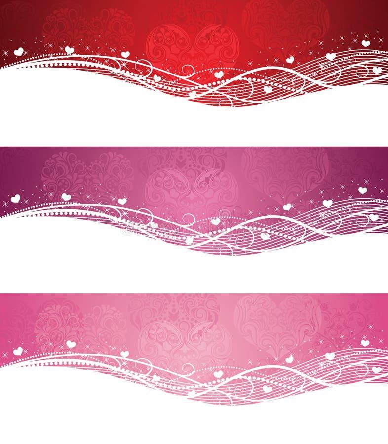 Bandiere di giorno del biglietto di S. Valentino. illustrazione vettoriale