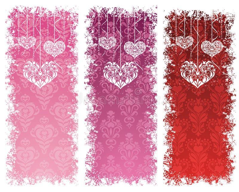 Bandiere di giorno del biglietto di S. Valentino. illustrazione di stock