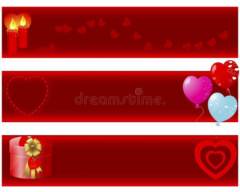 Bandiere di giorno del biglietto di S. Valentino. royalty illustrazione gratis