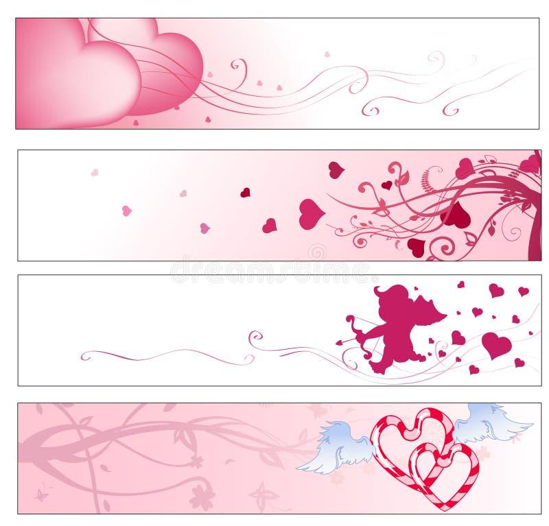 Bandiere di giorno del biglietto di S. Valentino illustrazione vettoriale