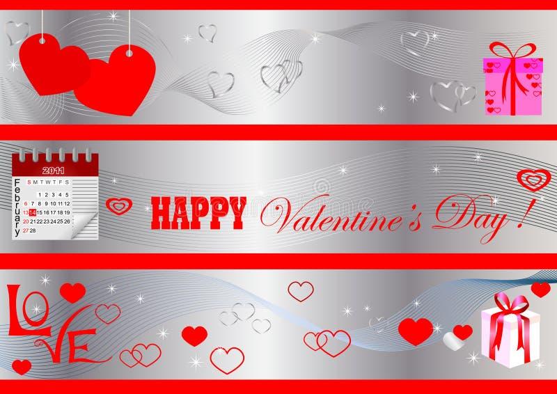 Bandiere di giorno del biglietto di S. Valentino. vettore. illustrazione vettoriale