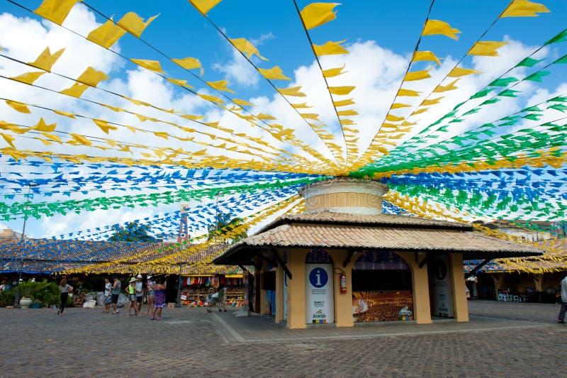 Bandiere di Jonh del san nel mercato fotografia stock libera da diritti