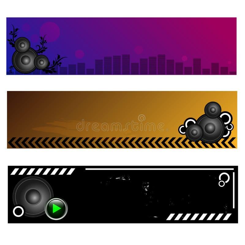 Bandiere di musica illustrazione di stock