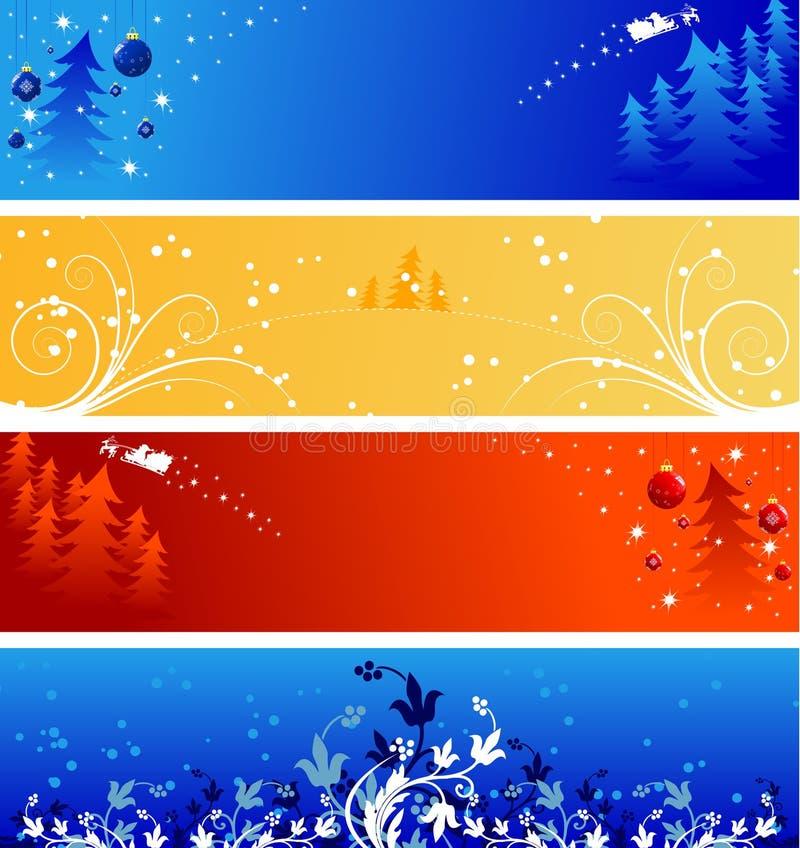 Bandiere di natale di inverno illustrazione di stock