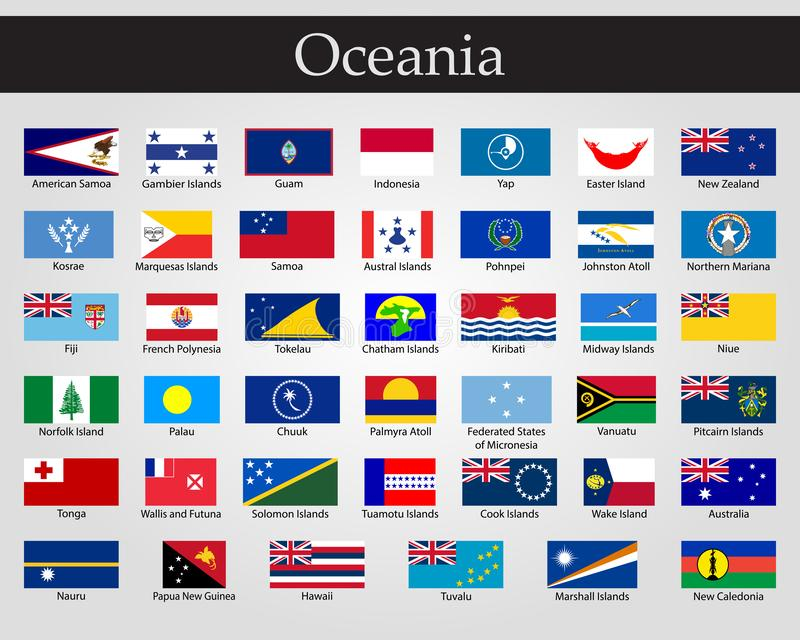 Bandiere di Oceania, tutti i paesi nei colori originali royalty illustrazione gratis