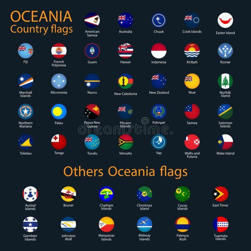 Bandiere di Oceania, tutti i paesi nei colori originali illustrazione di stock