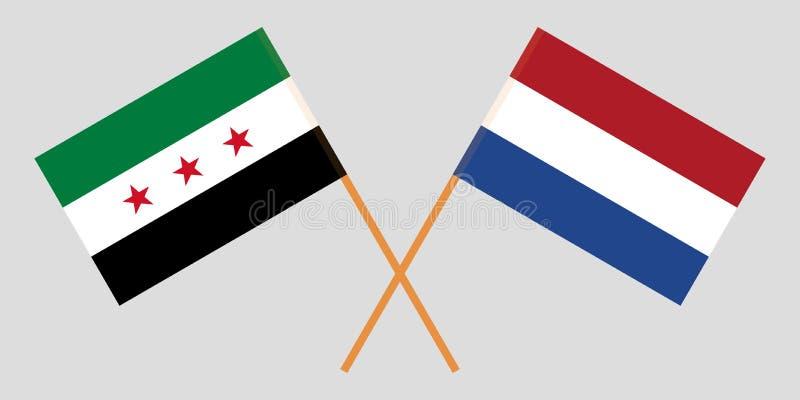 Bandiere di opposizione della Siria e dei Paesi Bassi illustrazione vettoriale