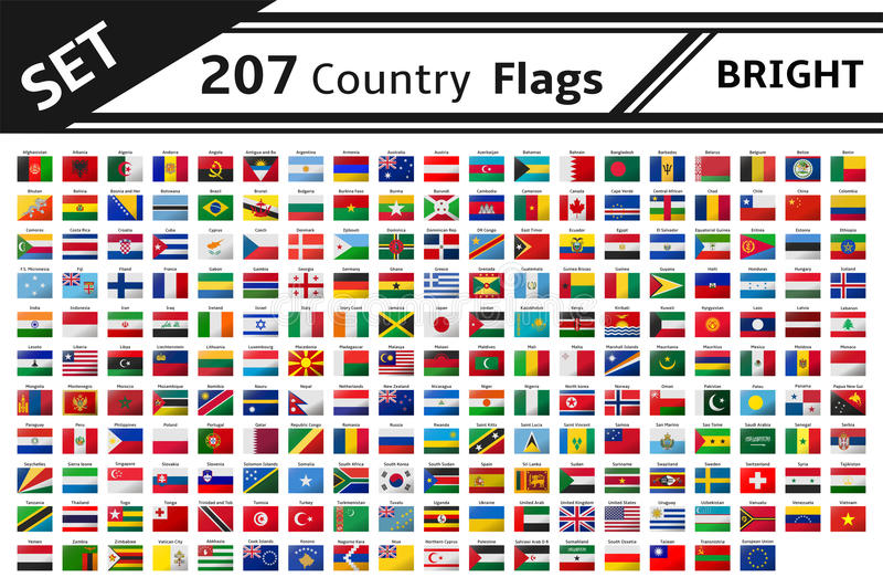 207 bandiere di paese con effetto di scintillio illustrazione vettoriale