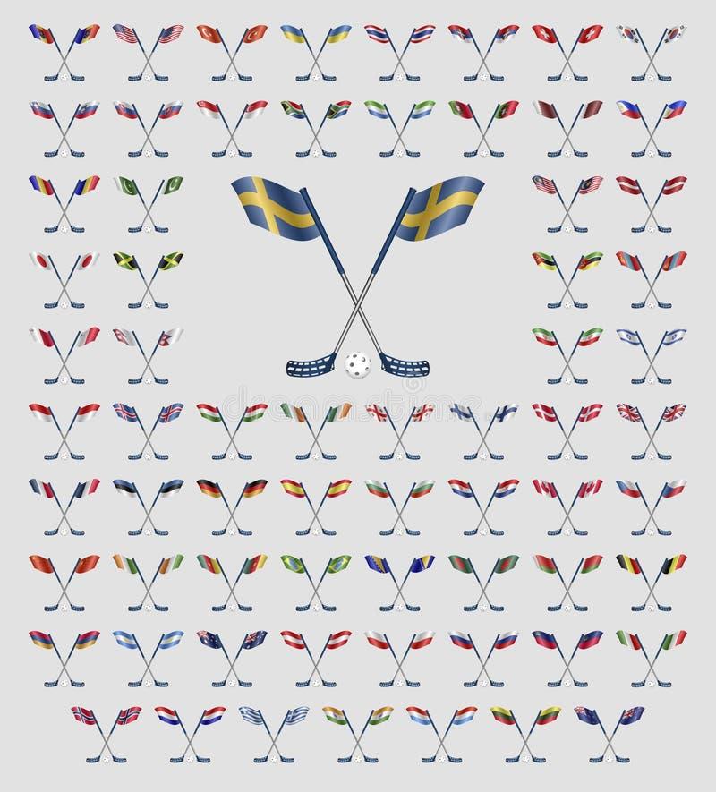 Bandiere di paese di logo di Floorball illustrazione vettoriale