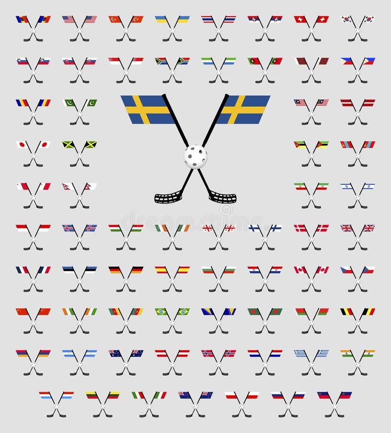 Bandiere di paese di logo di Floorball illustrazione di stock