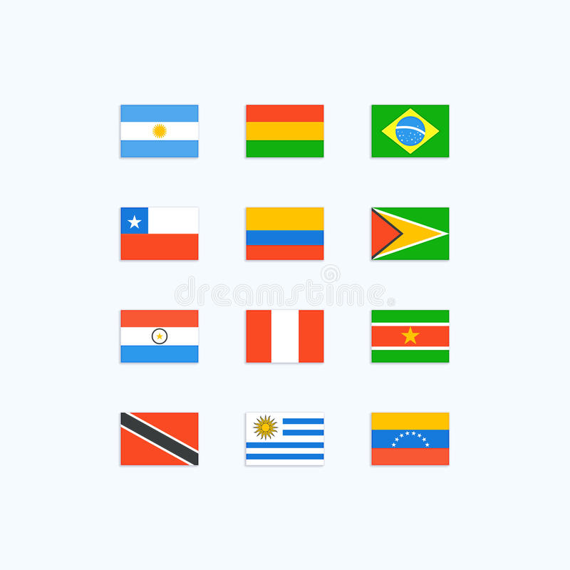 Bandiere di paese sudamericano illustrazione di stock