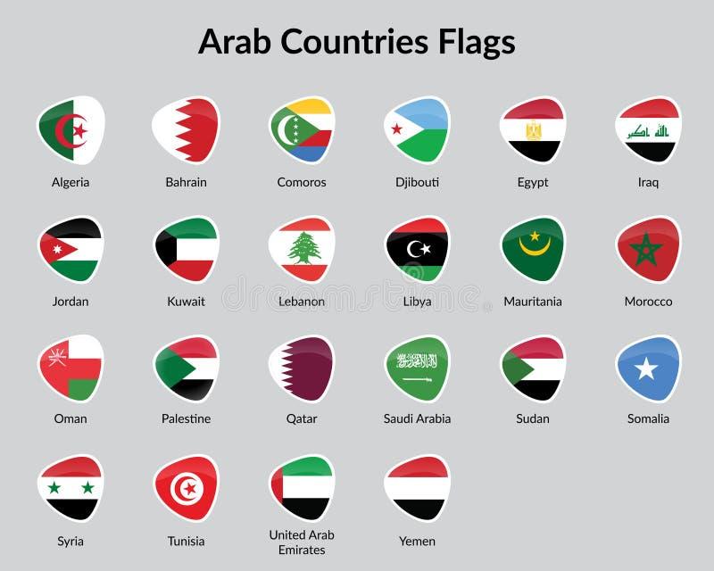 Bandiere di paesi arabe illustrazione vettoriale