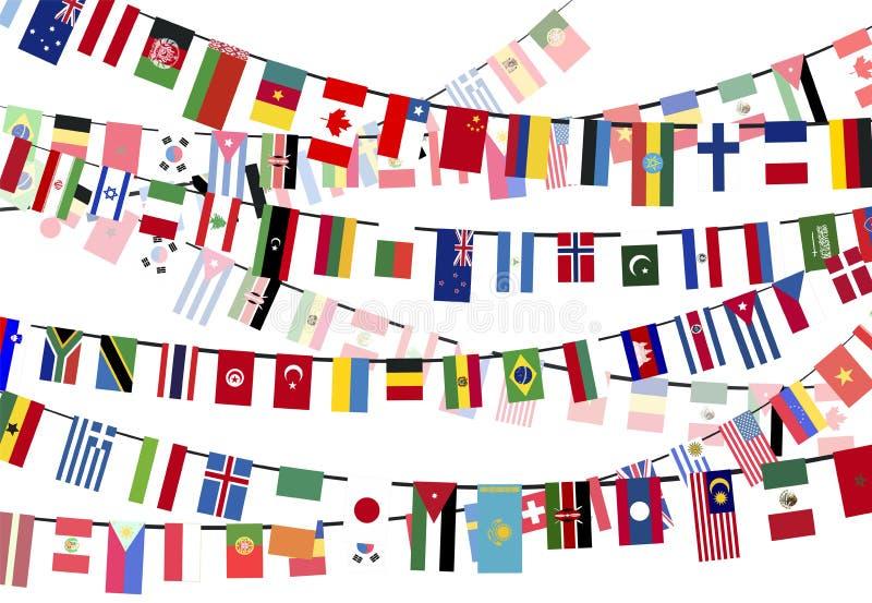 Bandiere di paesi differenti sulle corde illustrazione vettoriale
