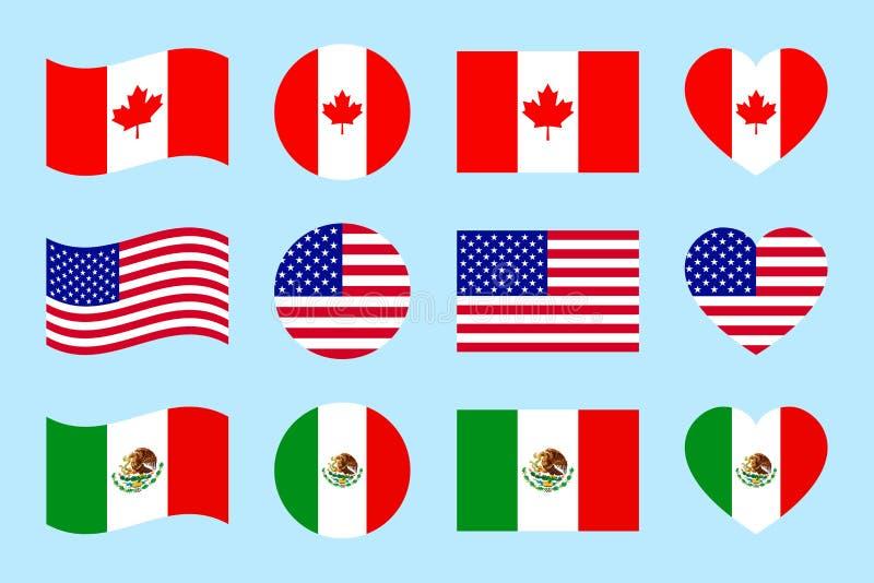 Bandiere di paesi nordiche dell'america Illustrazione di vettore Il Canada, U.S.A., bandiere del funzionario del Messico Figure g illustrazione di stock