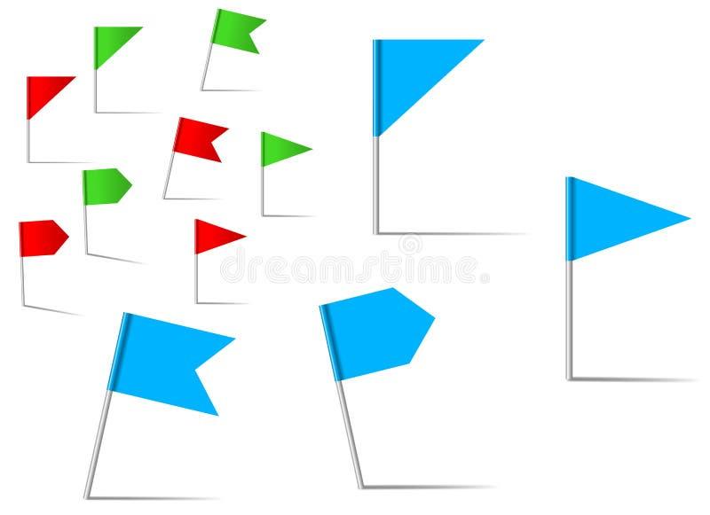 Bandiere di Pin per servizio di posizione e di percorso royalty illustrazione gratis