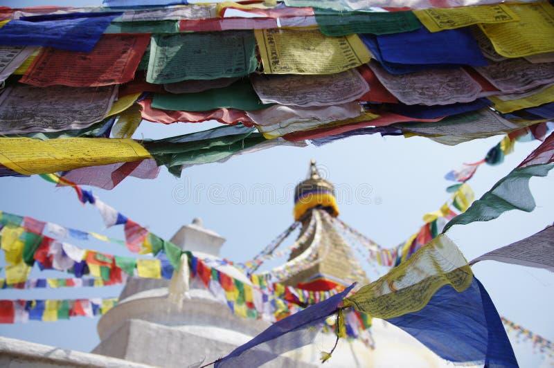 Bandiere di preghiera a Kathmandu Nepal fotografie stock libere da diritti