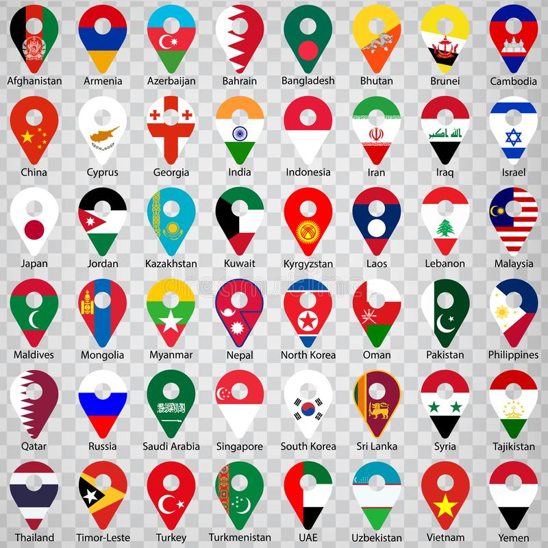 Bandiere di tutti i paesi asiatici - ordine alfabetico con nome Una serie di segnali di geolocalizzazione come le bandiere dei pa illustrazione vettoriale