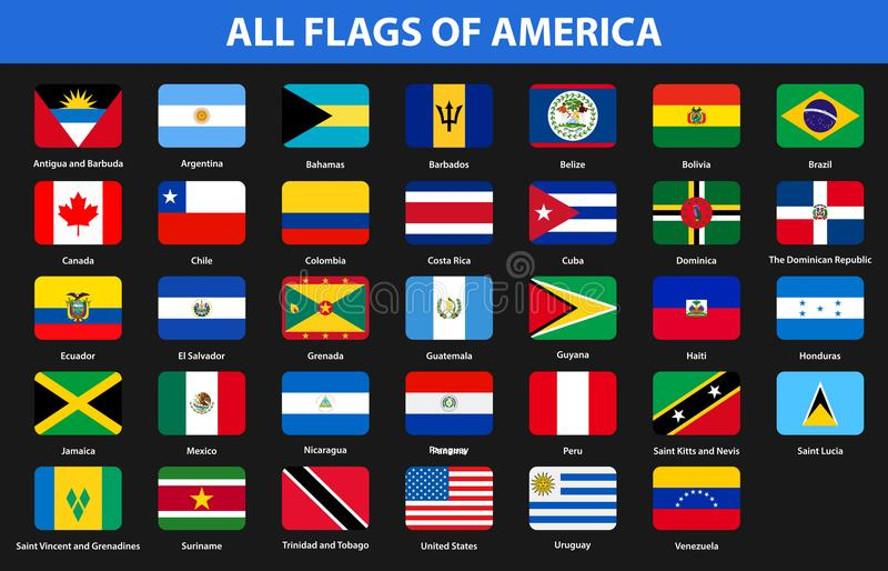 Bandiere di tutti i paesi dei continenti americani Stile piano illustrazione vettoriale