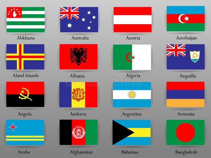 Bandiere di tutti i paesi della parte 1 del mondo illustrazione vettoriale