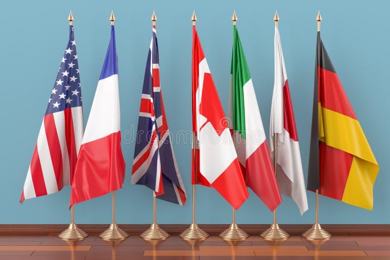 Bandiere di tutto il G7 dei membri, 3D illustrazione di stock