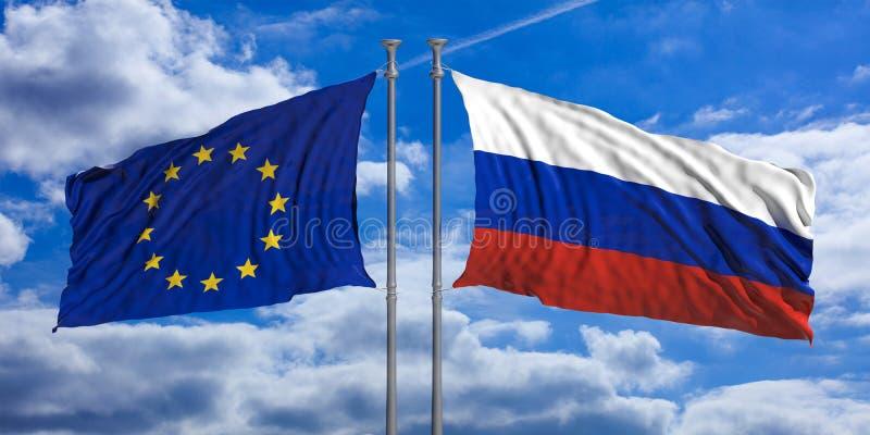Bandiere di Unione Europea e della Russia sul fondo del cielo blu illustrazione 3D royalty illustrazione gratis