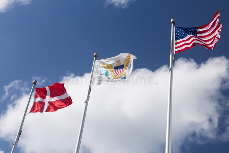 Bandiere di USVI a St Thomas immagine stock