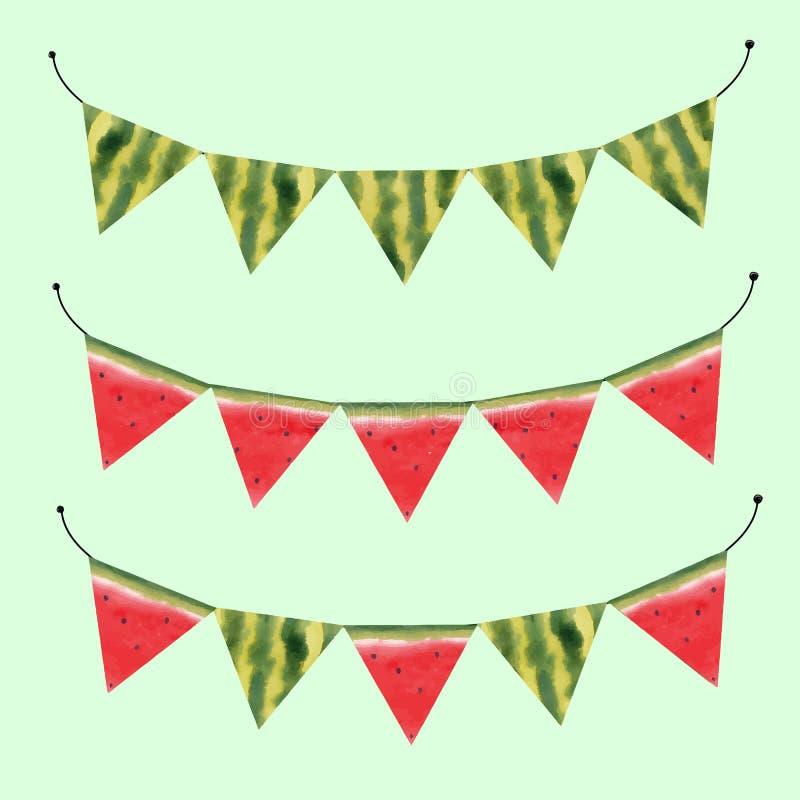Bandiere di vettore dell'anguria dell'acquerello royalty illustrazione gratis