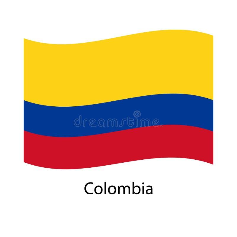 Bandiere di vettore della Colombia messe 5 stendardi ondulati del panno 3D che fluttuano sul vento illustrazione vettoriale