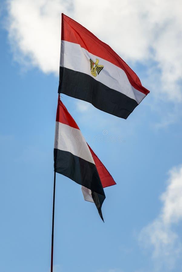 Bandiere doppie dell'Egitto fotografia stock libera da diritti