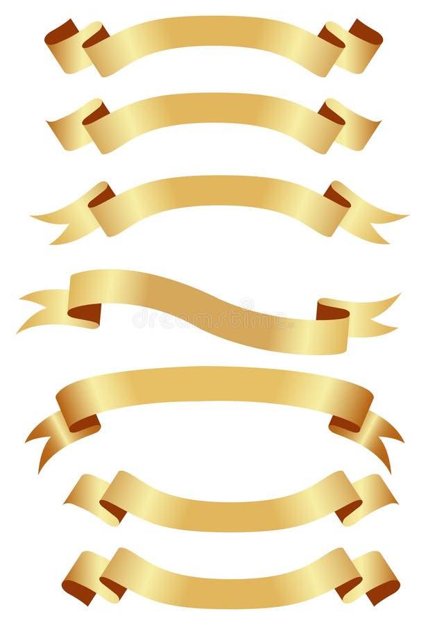 Bandiere dorate orizzontali royalty illustrazione gratis