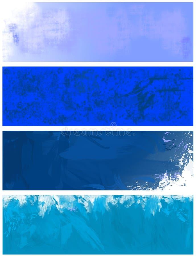 Bandiere ed ambiti di provenienza strutturati blu illustrazione di stock
