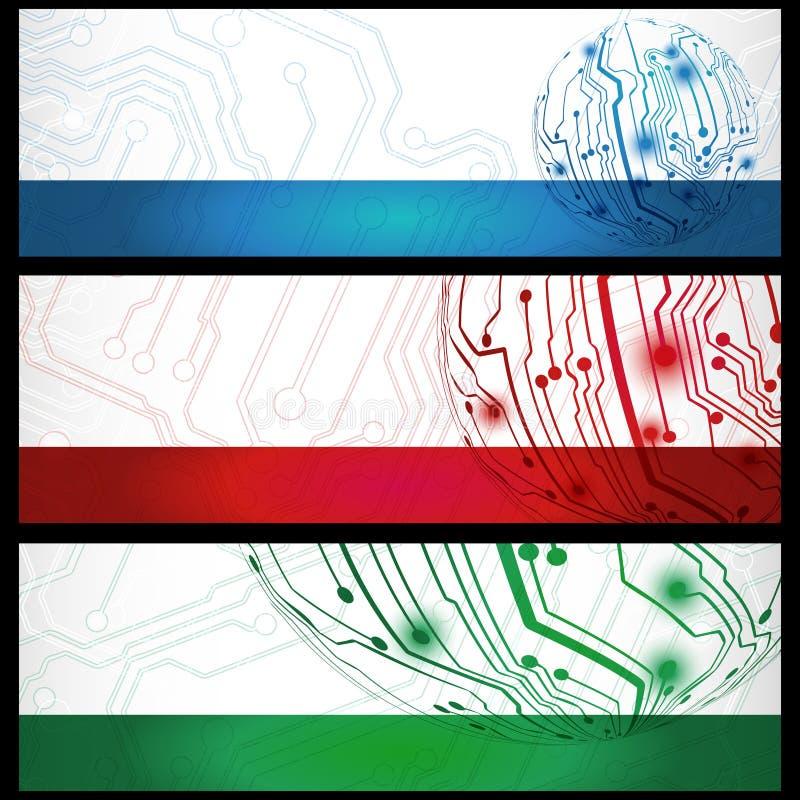 Bandiere elettriche della scheda illustrazione vettoriale