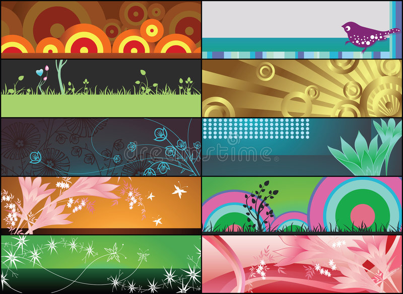 Bandiere floreali illustrazione di stock