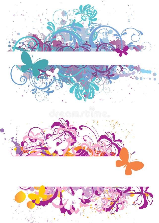 Bandiere floreali illustrazione vettoriale
