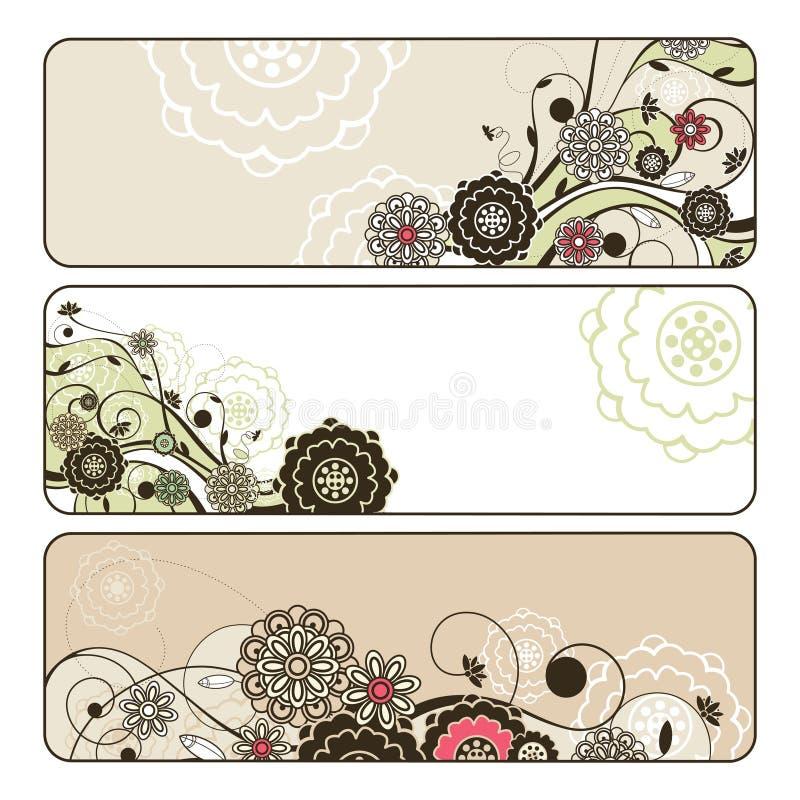 Bandiere floreali orizzontali sveglie astratte illustrazione di stock