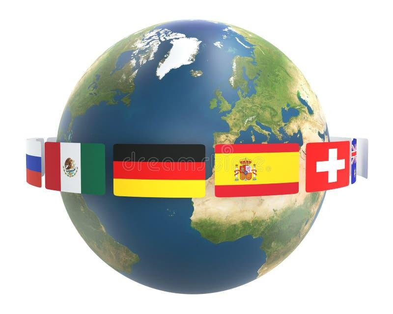 Bandiere intorno al mondo globo 3d-illustration del pianeta Terra Elementi di questa immagine ammobiliati dalla NASA illustrazione vettoriale