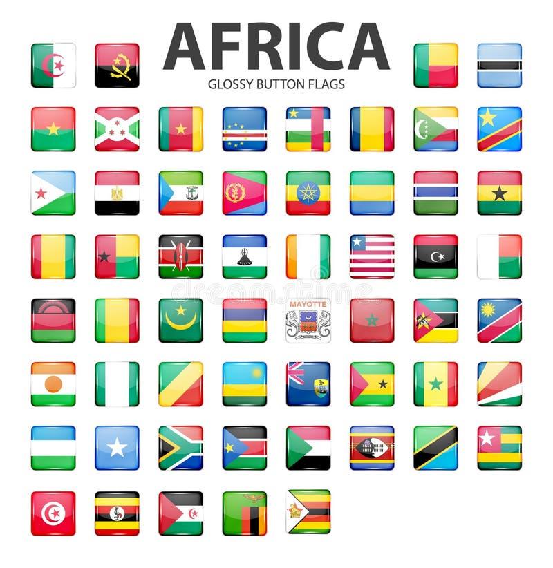 Bandiere lucide del bottone - Africa Colori originali illustrazione vettoriale
