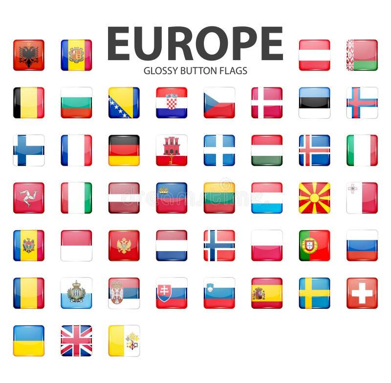 Bandiere lucide del bottone - Europa Colori originali royalty illustrazione gratis