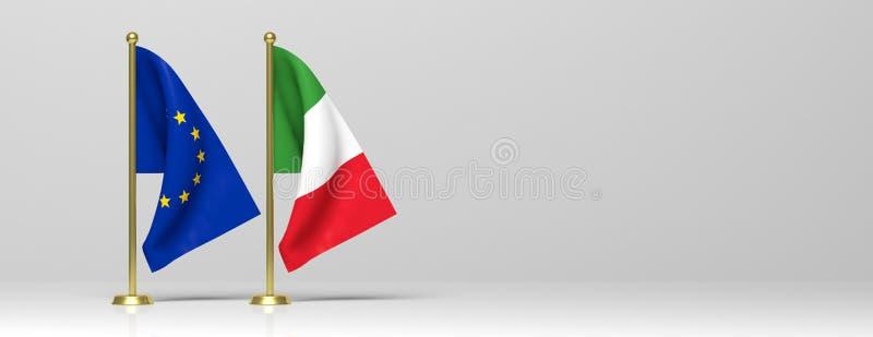 Bandiere miniatura dell'Unione Europea e dell'Italia su fondo bianco, insegna, spazio della copia illustrazione 3D royalty illustrazione gratis